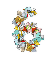 Number 6 rubbish trash font six sign garbage vector