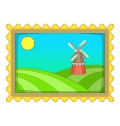 Picture with windmill icon cartoon style vector image