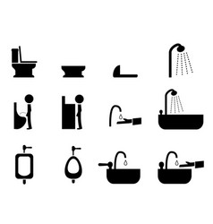 Set of toilet icons in silhouette style vector