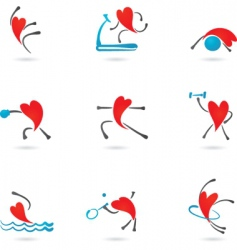 sport and fitness heart icons vector image
