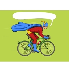 Superhero on a bicycle comic book vector