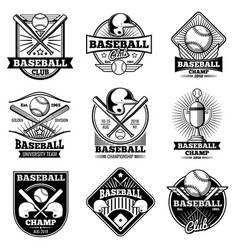 vintage baseball labels and emblems vector image vector image
