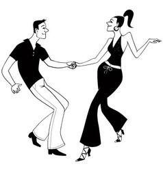 West Coast Swing dancers clip art vector image vector image