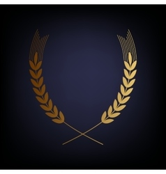 Wheat sign golden style icon vector