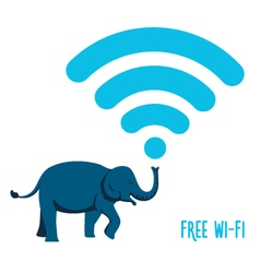 Wi-Fi sign wih an elephant vector image vector image