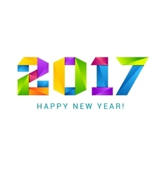 Happy new year 2017 text design colorful vector