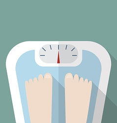 Bare feet on weight scale vector