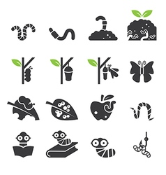 Worm icon set vector