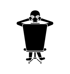 Silhouette man sitting on back chair relaxing vector