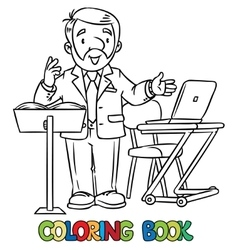 Funny university lecturer coloring book vector