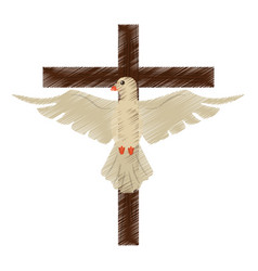 drawing holy spirit cross vector image