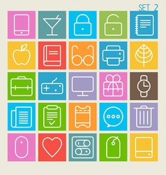 25 trendy thin icons set 2 vector