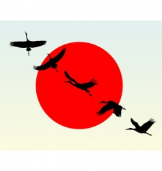 silhouettes of flying cranes vector image