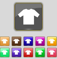 T-shirt icon sign set with eleven colored buttons vector