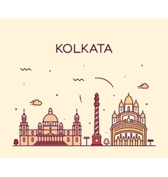 Kolkata skyline trendy linear vector