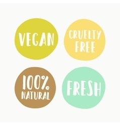 Set of vegan labels for product package vector