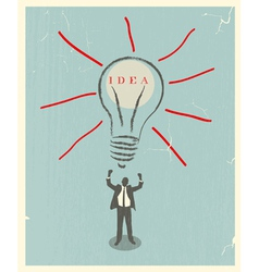 of idea bulb retro poster vector image