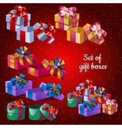 Postcard holiday christmas set festive boxes vector
