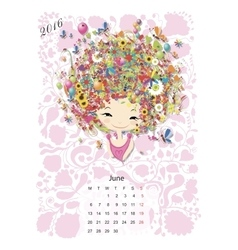 Calendar 2016 june month season girls design vector