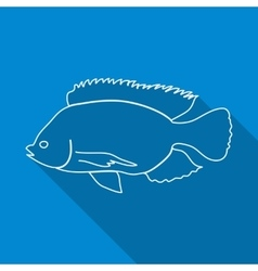 Icon contour fish flat style long shadows vector