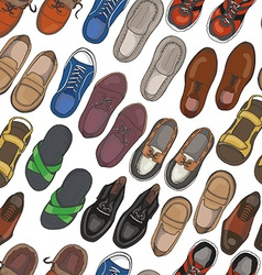Seamless pattern with mens shoes vector