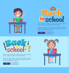 back to school poster with inscription stationary vector image