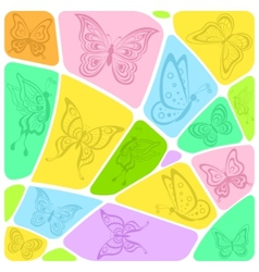 background mosaic with butterflies vector image