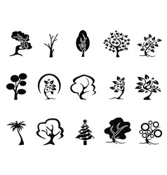 black tree icons set vector image vector image