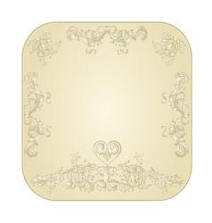 Button circular festive with a heart filigree vector image vector image