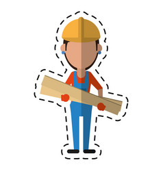 Cartoon woman building construction wooden boards vector