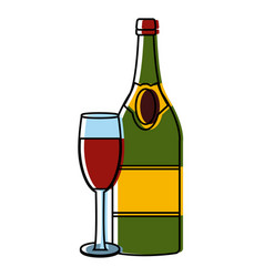 champagne bottle and cup vector image vector image