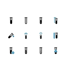 Chemical test tube duotone icons on white vector