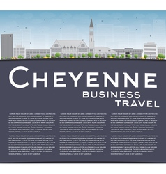 Cheyenne wyoming skyline with grey buildings vector