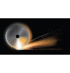 Circular saw sparks vector