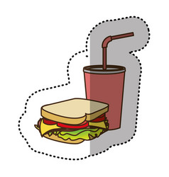 Color sandwich with soda flat icon vector