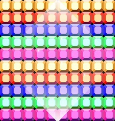 Colorful gem stone square cut pattern background vector