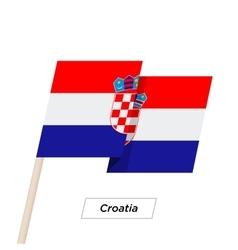 Croatia Ribbon Waving Flag Isolated on White vector image vector image