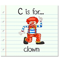 Flashcard alphabet c is for clown vector