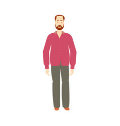 flat adult red-haired man isolated vector image vector image