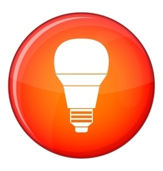 Glowing LED bulb icon flat style vector image vector image