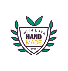 Handmade with love logo template quality since vector
