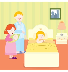Happy family bedtime vector