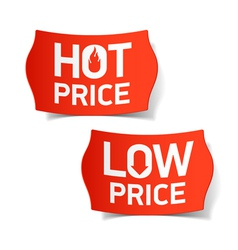 Hot and Low Price labels vector image
