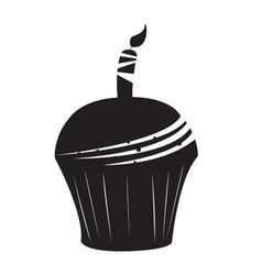 isolated cupcake silhouette vector image vector image