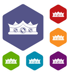King crown icons set hexagon vector