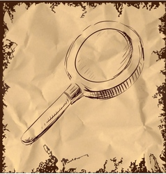 Magnify glass isolated on vintage background vector image