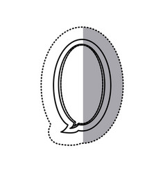 Monochrome contour sticker of large oval frame vector