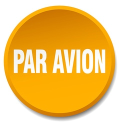Par avion orange round flat isolated push button vector