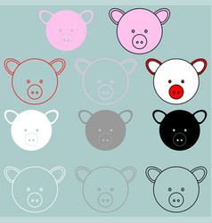 Pig face rosy red black grey white colour vector