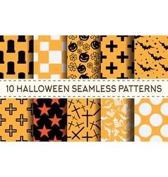 set of 10 halloween pattern vector image vector image